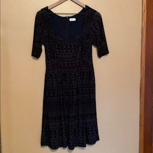 Anthropologie Meadow Rue Navy Velvet Dress